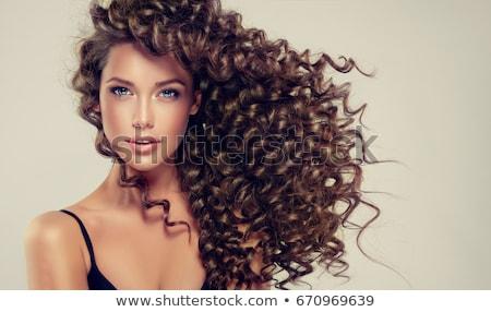 mooie · brunette · rode · lippen · zelfportret - stockfoto © serdechny