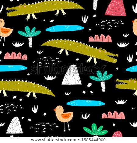 Cartoon cute doodles hand drawn Africa seamless pattern Stock photo © balabolka