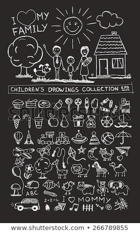 szczęśliwy · dzieci · rysunek · sztaluga · pokładzie · domu - zdjęcia stock © dolgachov