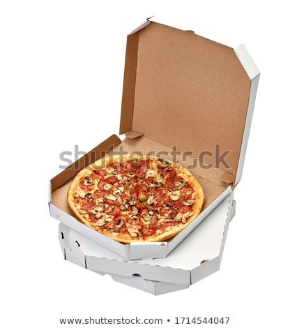 Restaurant Table, Italian Pizza in Box, Pizzeria Stock photo © robuart