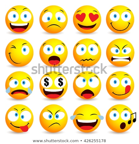 Fun 3d yellow smiley face icon isolated background Stock photo © cienpies
