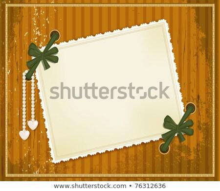 ベクトル グランジ カード 弓 真珠 中心 ストックフォト © Alkestida