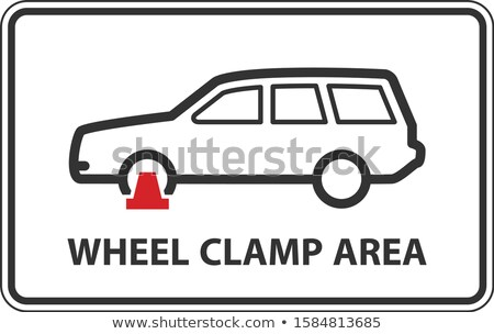 No parking, wheel clamping zone warning sign, car with clamped w Stock photo © gomixer