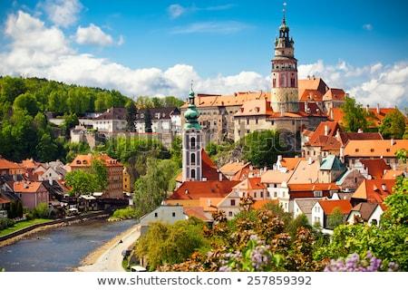 Város panorámakép légifelvétel gyönyörű folyó Csehország Stock fotó © hamik
