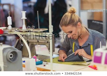 Blond kobieta maszyny do szycia portret wesoły okulary Zdjęcia stock © pressmaster