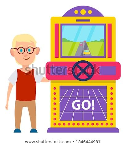 Kumar makine yarış oyun vektör eski Stok fotoğraf © robuart