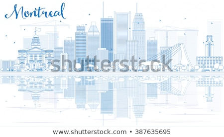 Montreal linha do horizonte azul edifícios reflexão Foto stock © ShustrikS