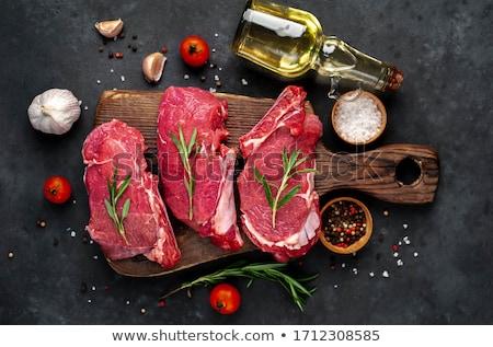 Beefsteak frischen Rosmarin weiß Platte Bord Stock foto © Alex9500