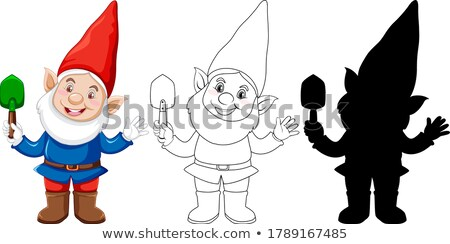 Gnom łopata kolor sylwetka Zdjęcia stock © bluering