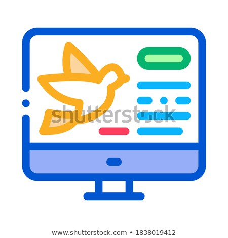 Bird On Computer Screen Icon Thin Line Vector Stock photo © pikepicture
