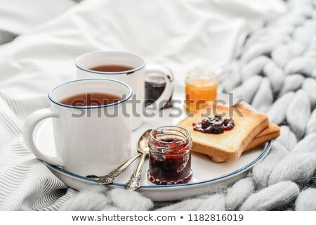 coffee and tea on linen background stock photo © Ansonstock