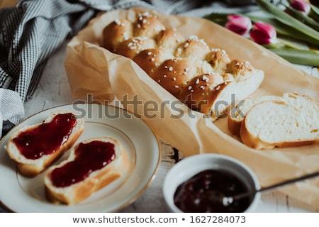 beyaz · ekmek · erik · reçel · dilim · ekmek · tatlı - stok fotoğraf © simply