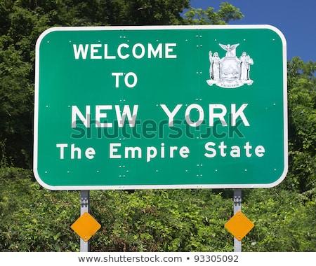 New York autópálya tábla zöld USA felhő utca Stock fotó © kbuntu