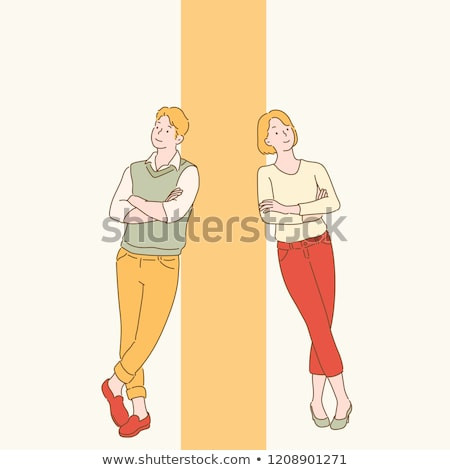 Young man stands cross legs stock photo © Paha_L