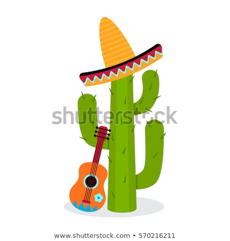 Foto stock: Sombrero · cacto · ilustração · isolado · branco · natureza