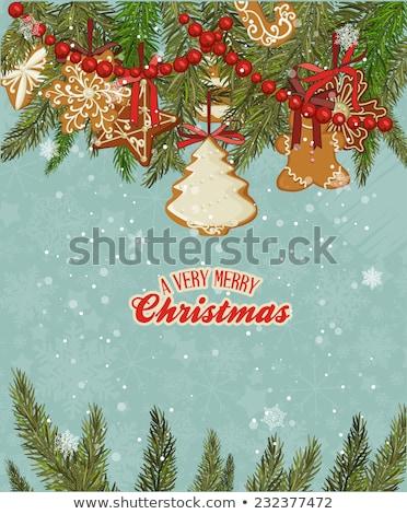 Vektor karácsonyi üdvözlet fehér cukormáz zöld hely Stock fotó © orson