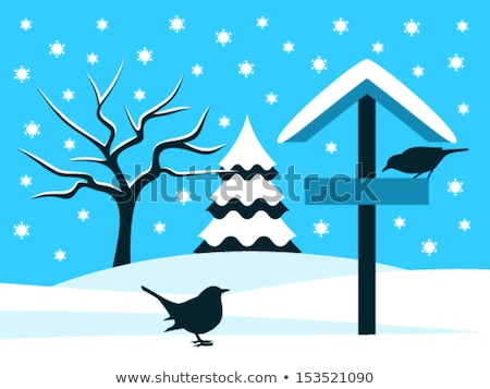 blackbird on snowy bird table stock photo © suerob