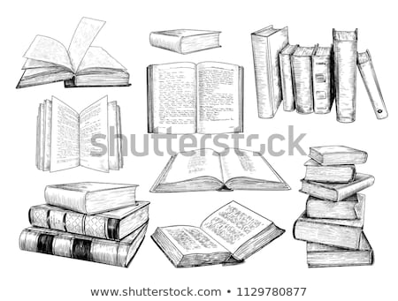 sketch pile of books   isolated on white background stock photo © rufous