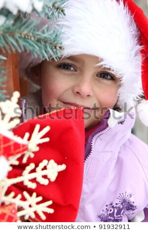 Little girl wearing a Santa hat in a chalet Stock photo © photography33