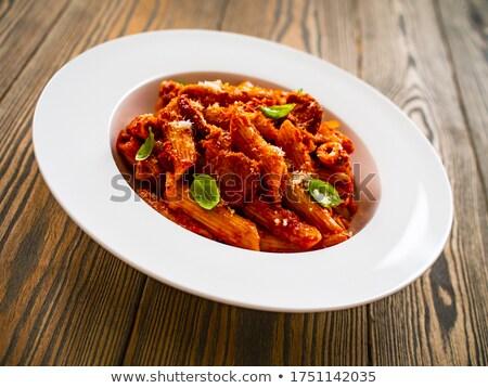 Pasta carne salsa tenedor completo salsa de tomate Foto stock © stevemc