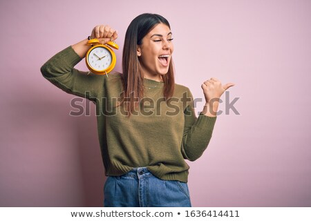 Woman showing alarm Stock photo © photography33