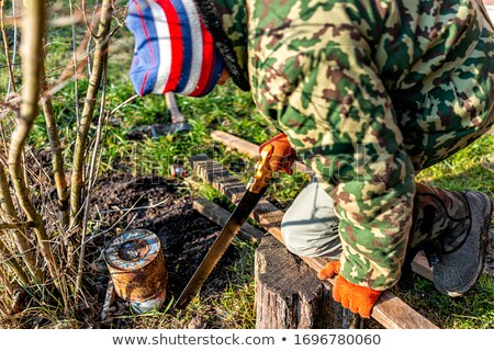 a kneeled carpenter with a handsaw stock photo © photography33