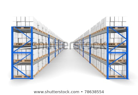 Warehouse Shelves 2 rows. Part of a Blue Warehouse and logistics series. stock photo © JohanH