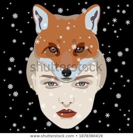 dość · pani · czarny · maska · płatki · śniegu · pinup - zdjęcia stock © dolgachov