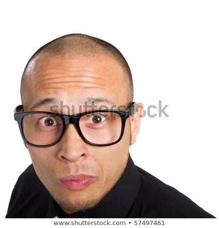 homem · de · negócios · terno · bobo · arreganhar · atraente · mão - foto stock © scheriton