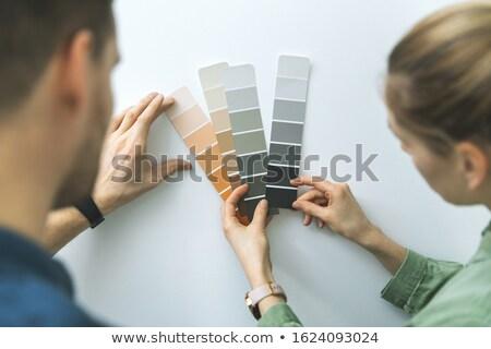 Pár szín minták festék új ház dekoráció Stock fotó © wavebreak_media