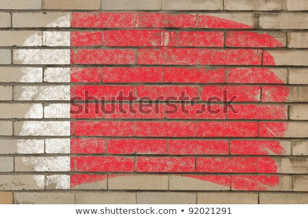 Flag Of Bahrain On Grunge Brick Wall Painted With Chalk Foto stock © vepar5