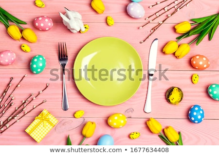 Easter Table Setting With Pink Tulips  Stock photo © klsbear