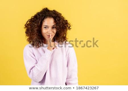 женщина улыбается тихий знак женщины улыбаясь Сток-фото © wavebreak_media