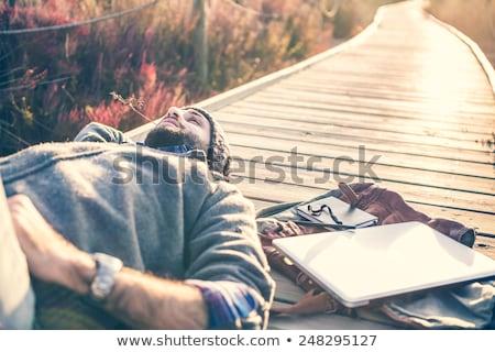 Genç açık havada fincan dizüstü bilgisayar iş bilgisayar Stok fotoğraf © aetb