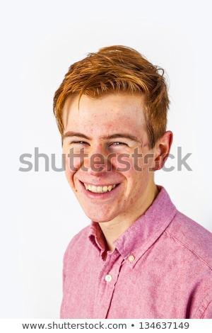 Vonzó fiú serdülőkor vörös haj arc modell Stock fotó © meinzahn