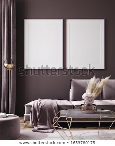 baroque · canapé · lustre · luxe · appartement · mur - photo stock © elenarts