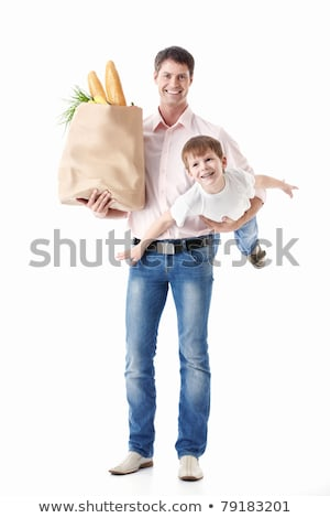 Boy holds two packages of papers stock photo © a2bb5s