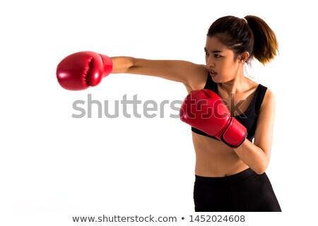 Ernstig jonge vrouw boksen houding witte vrouw Stockfoto © wavebreak_media