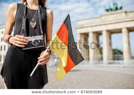 Brandenburgi kapu zászló Németország fekete kapu citromsárga Stock fotó © chrisdorney