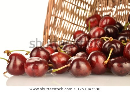 Two Red Ripe Sweet Cherries on a Wooden Table Stock photo © maxpro