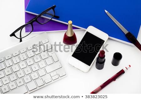 empresária · batom · telefone · móvel · batom · vermelho · mãos · cara - foto stock © lunamarina
