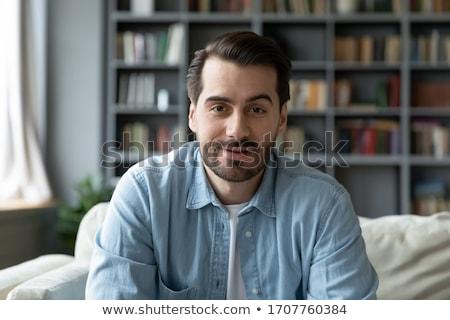 Ritratto uomo seduta arte pittura bianco Foto d'archivio © zzve