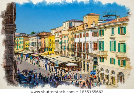 Restaurants and Cafes on Piazza Bra in Verona, Veneto, Italy Stock photo © anshar