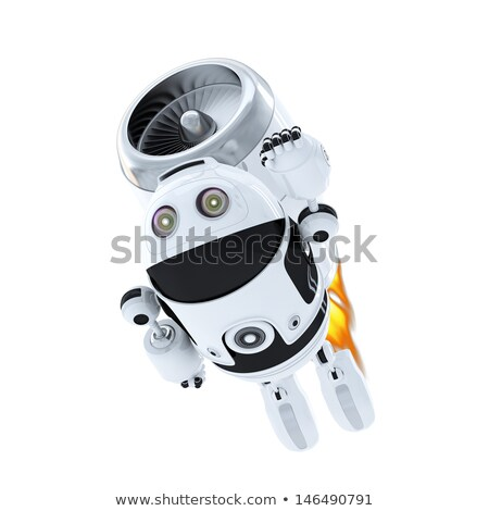 Android robot flying with jet pack Stock photo © Kirill_M