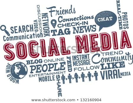 Sosyal medya kelime bulutu vektör dizayn teknoloji arka plan Stok fotoğraf © burakowski