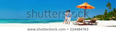 beach travel banner   romantic couple relaxing stock photo © maridav