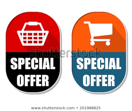 special offer with shopping basket and cart signs, two elliptica Stock photo © marinini