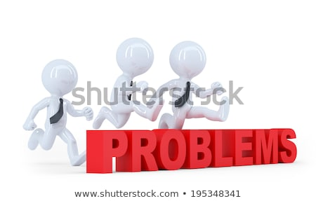 Business team jumping over a hurdle obstacle problems. Isolated Stock photo © Kirill_M