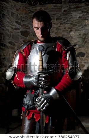 Stockfoto: Middeleeuwse · ridder · zwaard · schild · stenen · muur · man