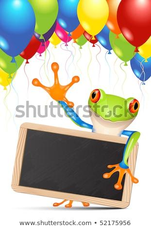 Blackboard · ballonnen · welkom · schoolbord · gekleurd · tekst - stockfoto © tilo